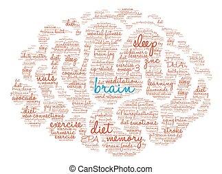 palabra, nube, cerebro