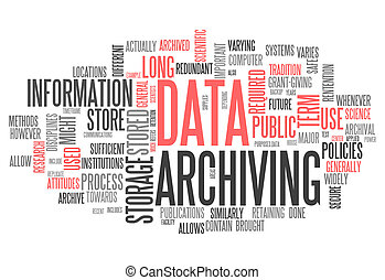 palabra, nube, datos, archiving