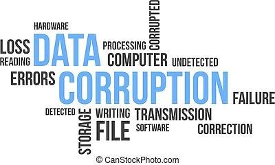 palabra, nube, -, datos, corrupción