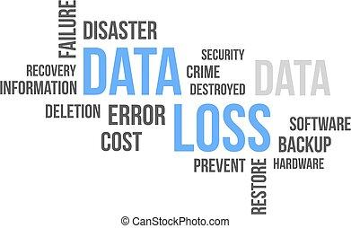 palabra, nube, -, datos, pérdida