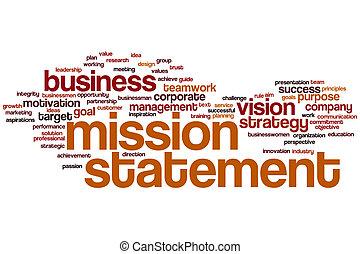 palabra, nube, declaración, misión