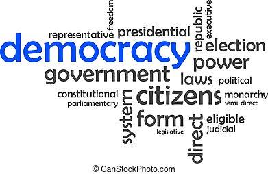 palabra, nube, -, democracia