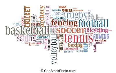 palabra, nube, deportes