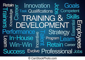 palabra, nube, desarrollo, entrenamiento