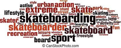 palabra, nube, el skateboarding