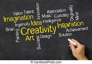 palabra, nube, en, un, pizarra, -, creatividad
