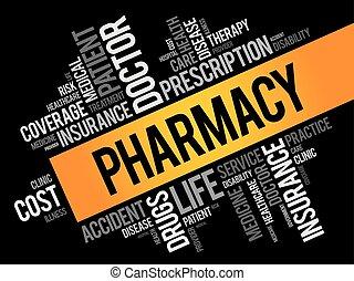 palabra, nube, farmacia, collage