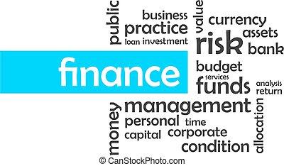 palabra, nube, -, finanzas