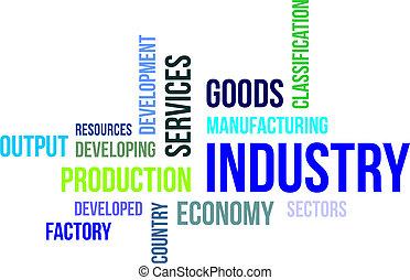 palabra, nube, -, industria