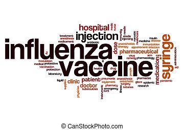 palabra, nube, influenza, vacuna