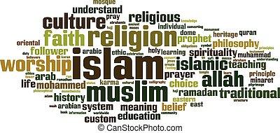 palabra, nube, islam