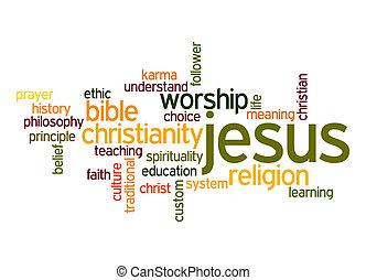 palabra, nube, jesús