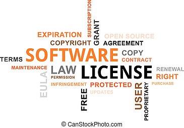 palabra, -, nube, licencia, software