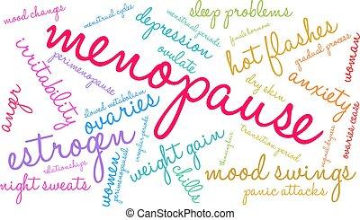 palabra, nube, menopausia