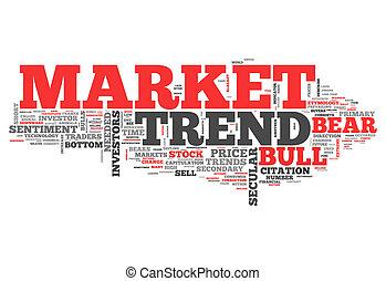 palabra, nube, mercado, tendencia