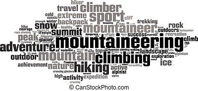palabra, nube, montañismo