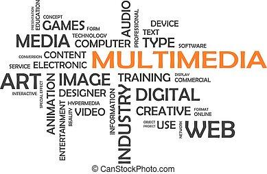 palabra, nube, -, multimedia