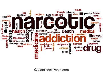 palabra, nube, narcótico