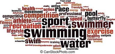 palabra, nube, natación