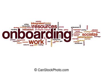 palabra, nube, onboarding, concepto