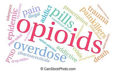 palabra, nube, opioids