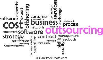 palabra, nube, -, outsourcing