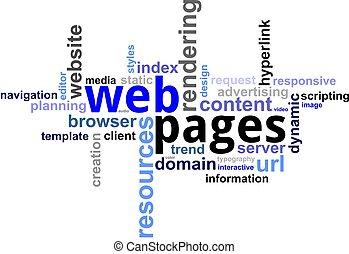 palabra, nube, -, páginas web
