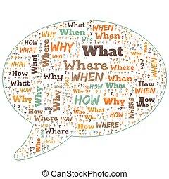 palabra, nube, -, quién, qué, dónde, cuándo, por qué, y, cómo, blanco, plano de fondo