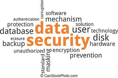 palabra, nube, -, seguridad de datos