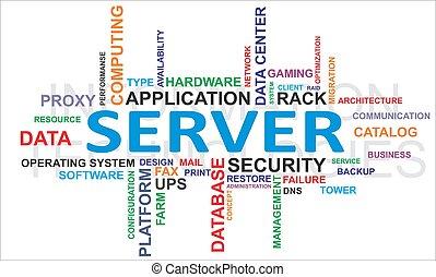 palabra, nube, -, servidor