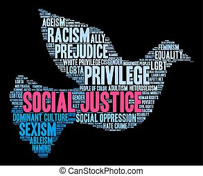 palabra, nube, social, justicia