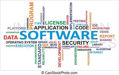 palabra, -, nube, software