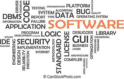 palabra, nube, -, software