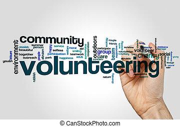 palabra, nube, voluntariado