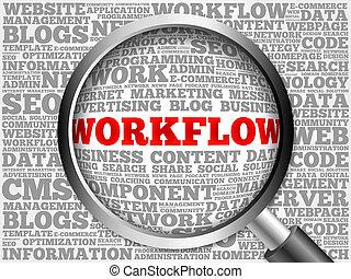 palabra, nube, workflow