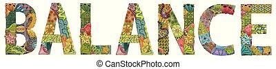 palabra, objeto, decoración, balance., vector, zentangle