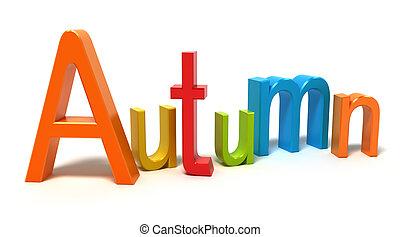 palabra, otoño, con, colorido, cartas