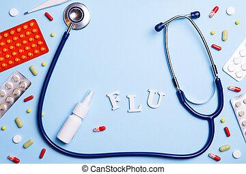 palabra, phonendoscope, gripe, termómetro, medicina, frío