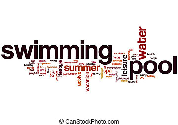 palabra, piscina, nube, natación