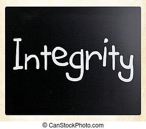 """palabra, pizarra, Tiza, blanco,  """"integrity"""", manuscrito"""