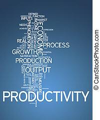 palabra, productividad, nube