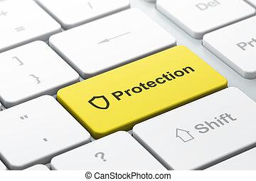 palabra, protector, render, intimidad, teclado, contoured, seleccionado, protección, foco, botón, computadora, entrar, icono, concept:, 3d