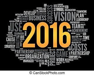 palabra, proyecto, metas, plan, 2016, nube