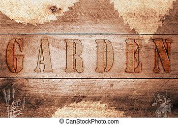 palabra, quemado, escrito, cartas, jardín