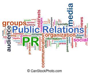 palabra, relaciones públicas, etiquetas
