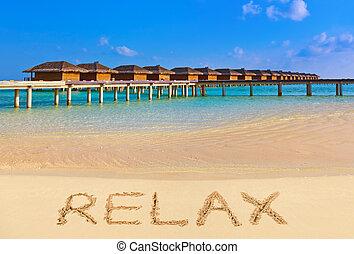 palabra, relajar, en, playa