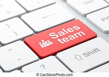 palabra, render, empresa / negocio, teclado, mercadotecnia, seleccionado, ventas, foco, equipo, computadora, concept:, entrar, icono, equipo, botón, 3d