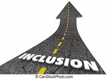 palabra, render, inclusión, inclusivo, ilustración, camino, 3d