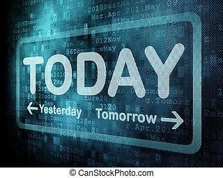 palabra, render, timeline, ayer, pantalla, hoy, digital, pixeled, mañana, concept:, 3d