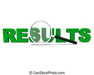 palabra, resultados, raya, resultado, o, logro, exposiciones